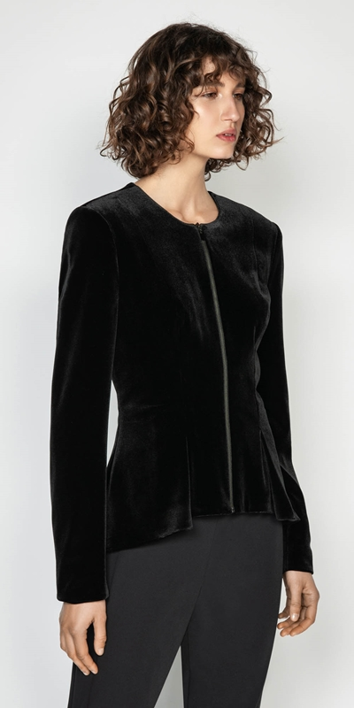 Wear to Work  | Velvet Zip Front Peplum Jacket