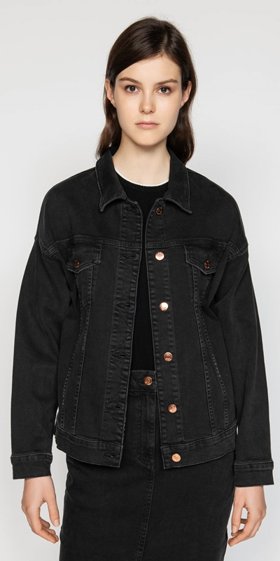 Jackets  | Washed Black Denim Jacket