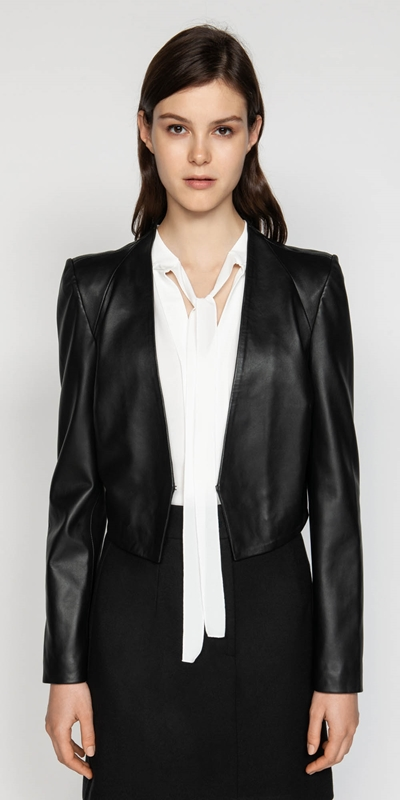 627a15471 CUE - Leather Collarless Jacket