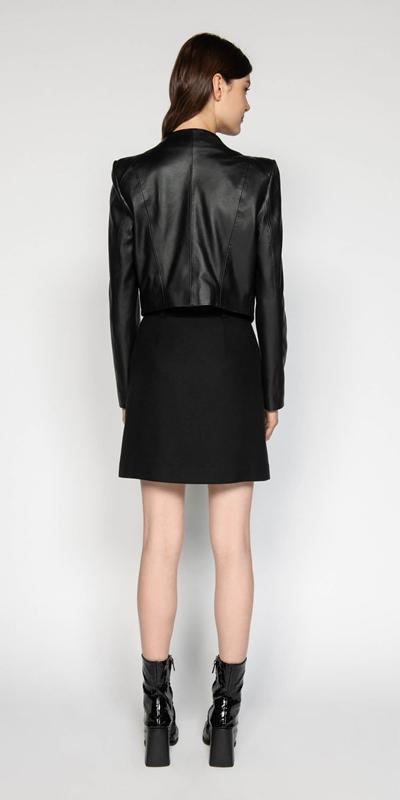 Jackets   Leather Collarless Jacket