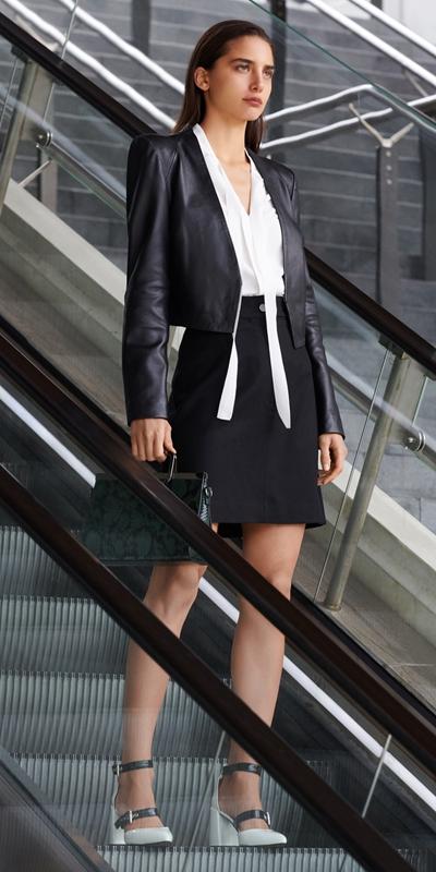 Jackets | Leather Collarless Jacket
