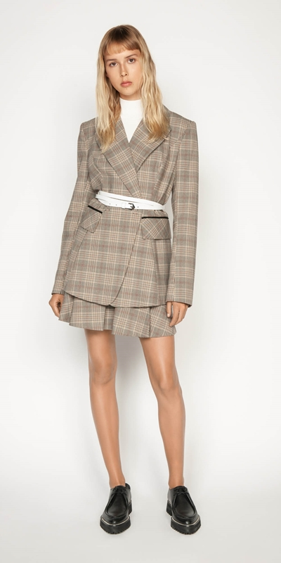 Sale | Camel Check Double Breasted Blazer