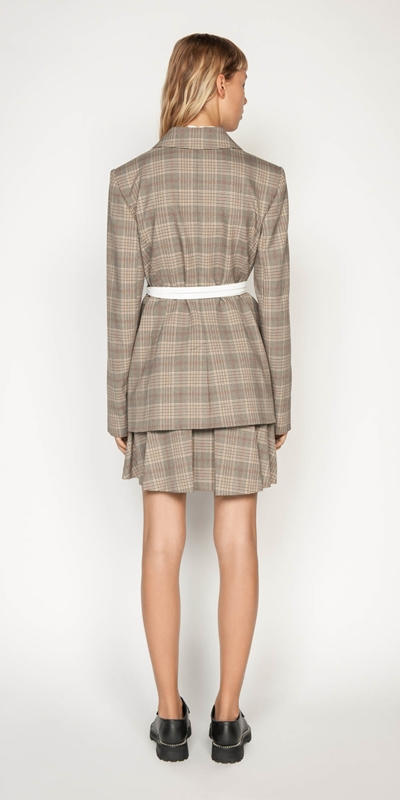 Jackets   Camel Check Double Breasted Blazer