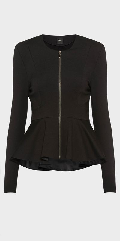 Work From Home | Zip Front Peplum Jacket