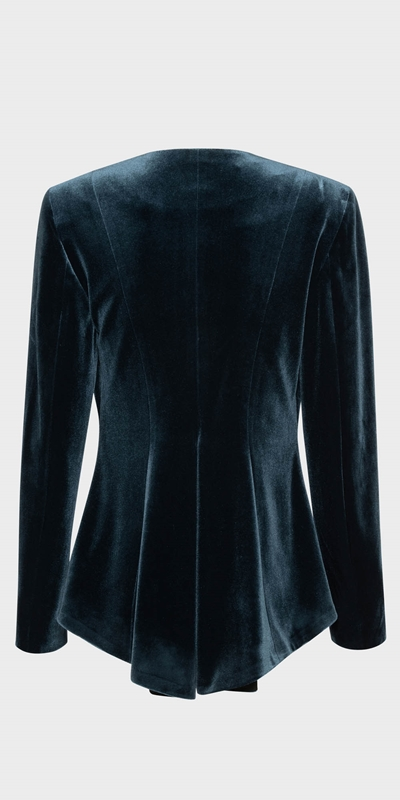 Work From Home  | Velvet Zip Front Peplum Jacket