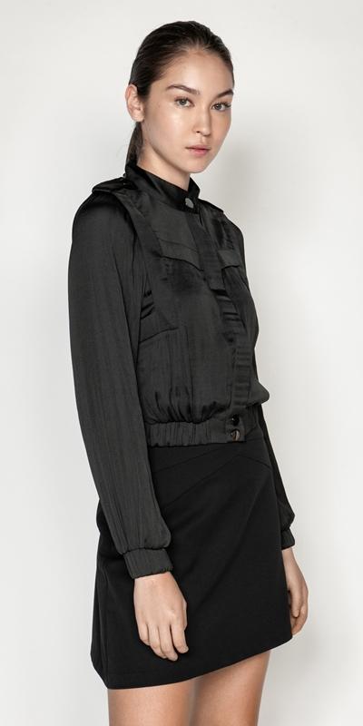 Jackets  | Drapey Satin Utility Bomber Jacket