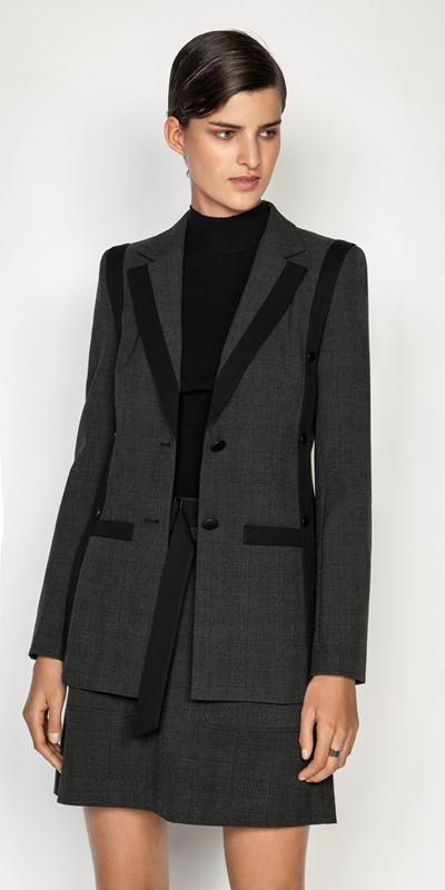 Jackets  | Melange Viscose Check Blazer