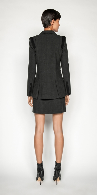 Jackets and Coats   Melange Viscose Check Blazer