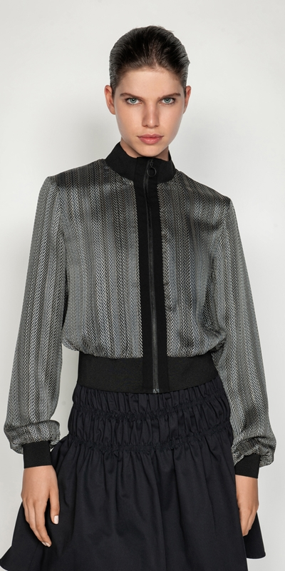 Jackets and Coats | Herringbone Bomber Jacket