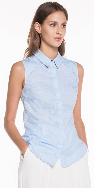 Tops  | Textured Pin Spot Sleeveless Shirt