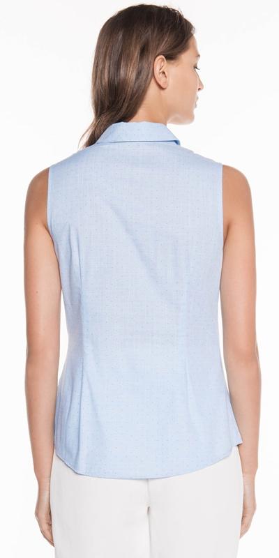 Shirts | Textured Pin Spot Sleeveless Shirt