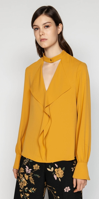 Tops  | Mustard Crepe Cascade Frill Blouse