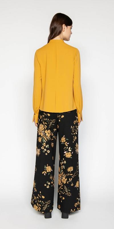 Shirts | Mustard Crepe Cascade Frill Blouse