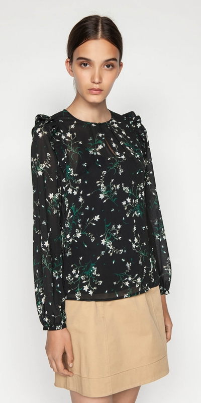 Tops  | Daisy Georgette Keyhole Blouse