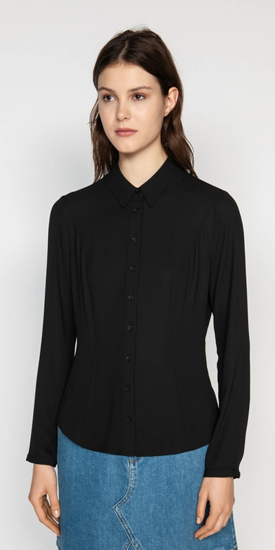 Tops  | Soft Georgette Collared Shirt