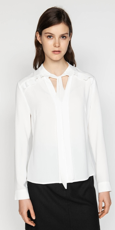 Tops  | Crepe Tie Neck Blouse