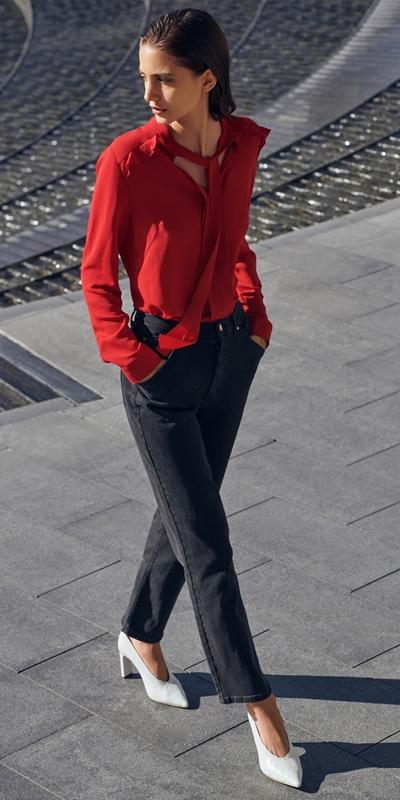 Shirts | Crepe Tie Neck Blouse