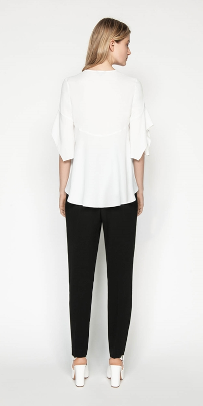 Shirts | Crepe Fluted Sleeve Top