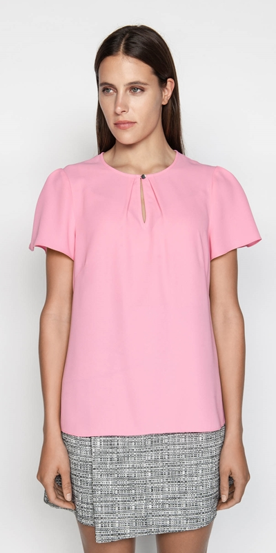 Shirts  | Candy Keyhole Fluted Sleeve Top