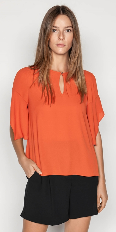 Sale  | Georgette Fluted Sleeve Top