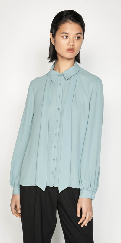 Tops  | Blouson Sleeve Shirt with Neck Tie