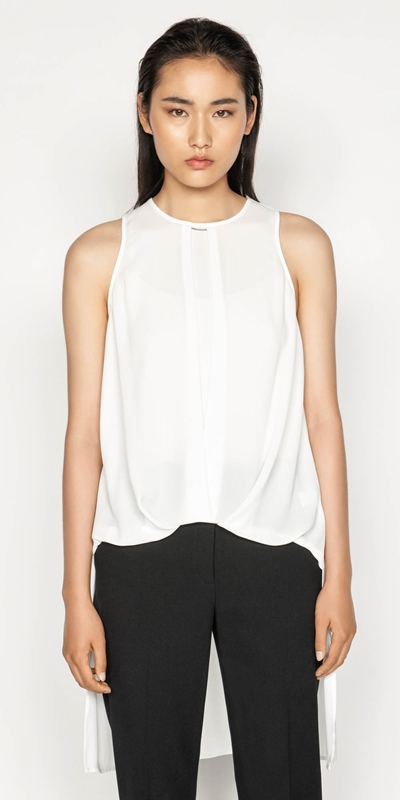 Wear to Work  | Stepped Hem Sleeveless Top