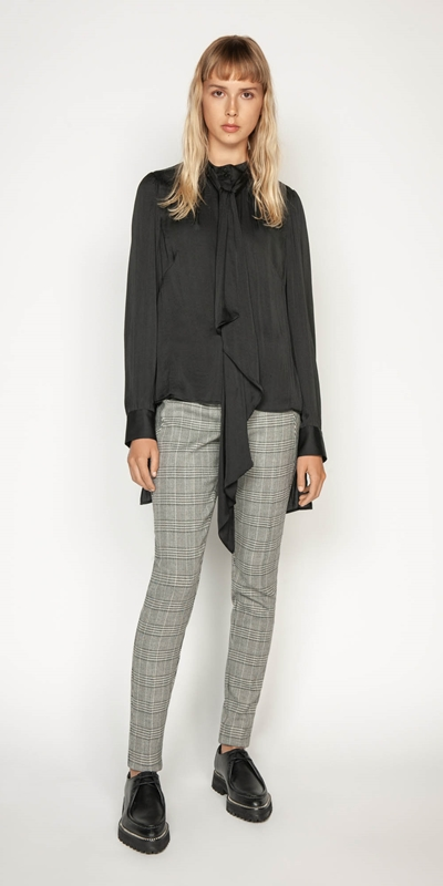 Wear to Work | Satin Stepped Hem Blouse