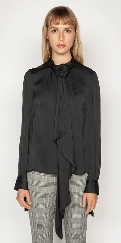 Shirts | Satin Stepped Hem Blouse