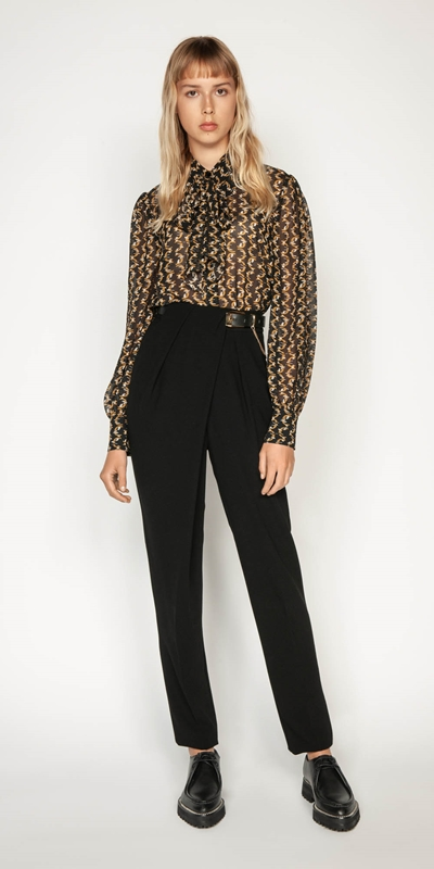 Work From Home | Monogram Chain Blouse