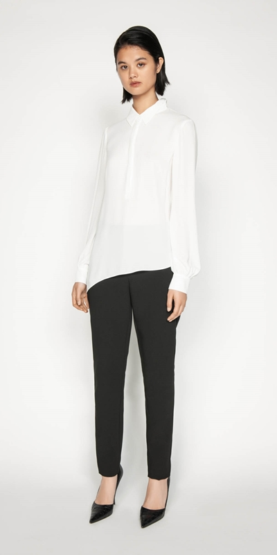 Shirts | Georgette Asymmetric Hem Shirt