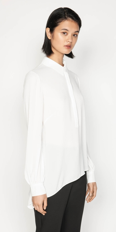 Wear to Work  | Georgette Asymmetric Hem Shirt