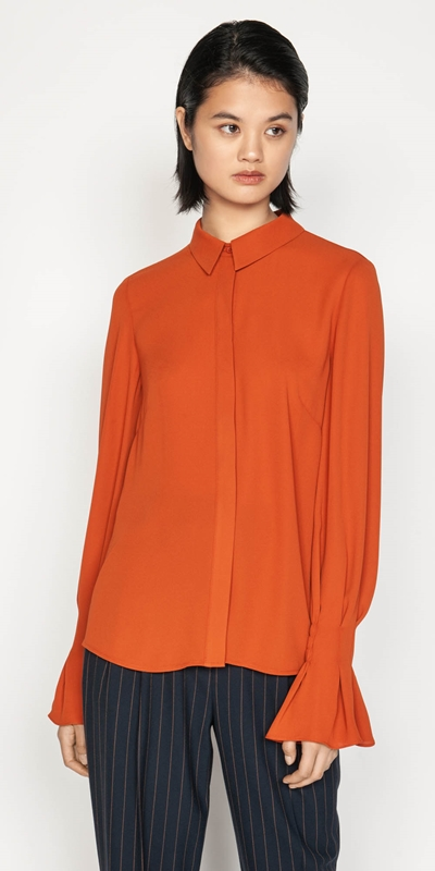 Shirts  | Georgette Fluted Cuff Shirt