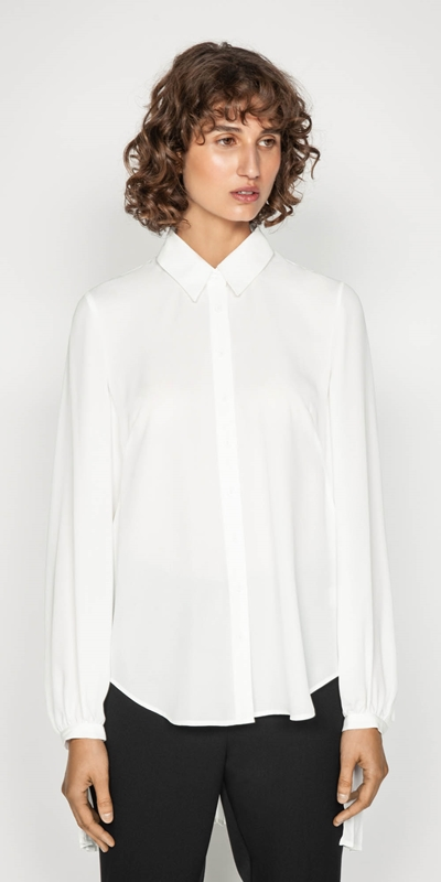 Shirts | Pleated Long Sleeve Blouse