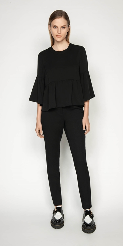 Work From Home | Crepe Fluted Hem Top
