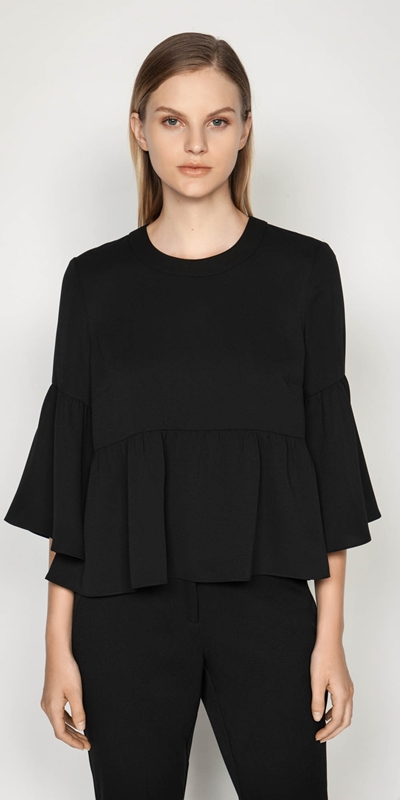 Tops  | Crepe Fluted Hem Top