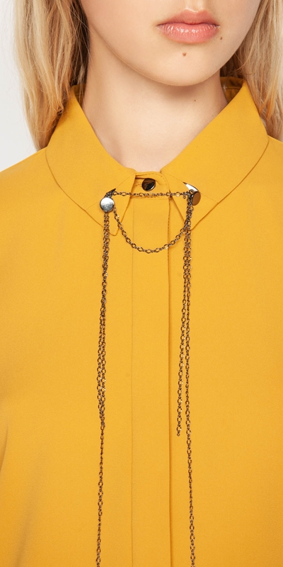 Shirts | Draped Chain Collared Shirt