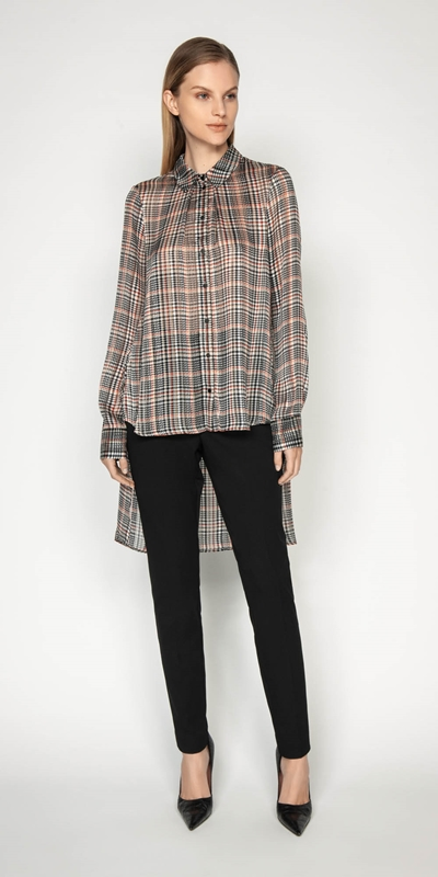 Work From Home | Satin Check Stepped Hem Shirt