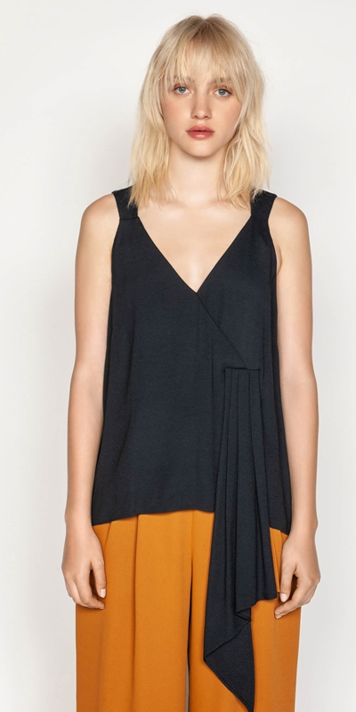 Tops  | Soft Satin Draped Cami