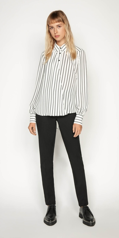 Sale | Double Stripe Asymmetric Shirt