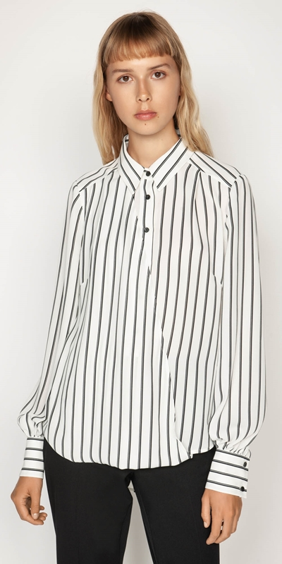 Shirts | Double Stripe Asymmetric Shirt