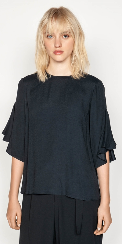 Shirts  | Frilled Sleeve Trapeze Top