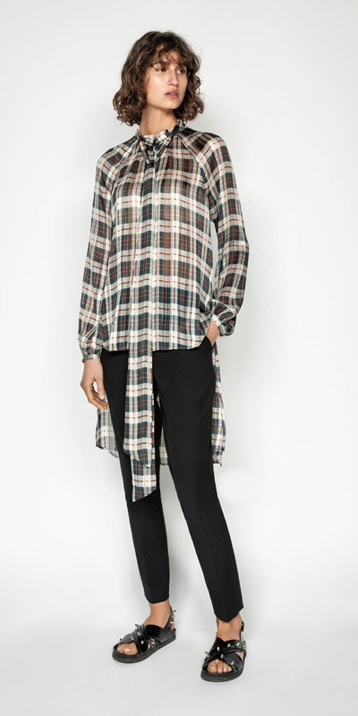 Shirts | Check Stepped Hem Blouse