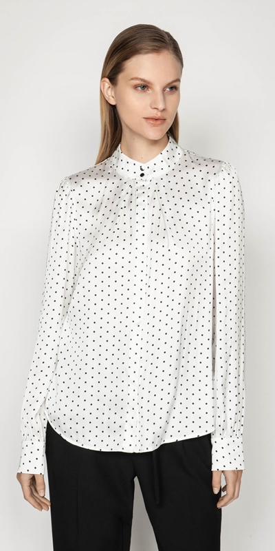 Shirts | Satin Spot Stand Collar Top