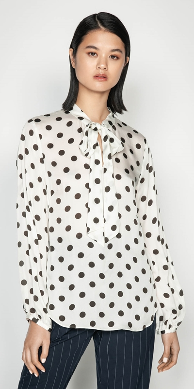 Tops  | Satin Spot Tie Neck Blouse