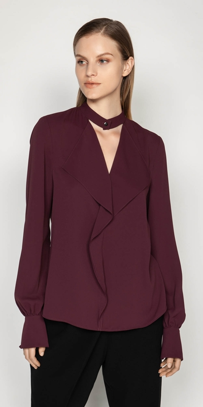 Wear to Work  | Crepe Cascade Frill Blouse