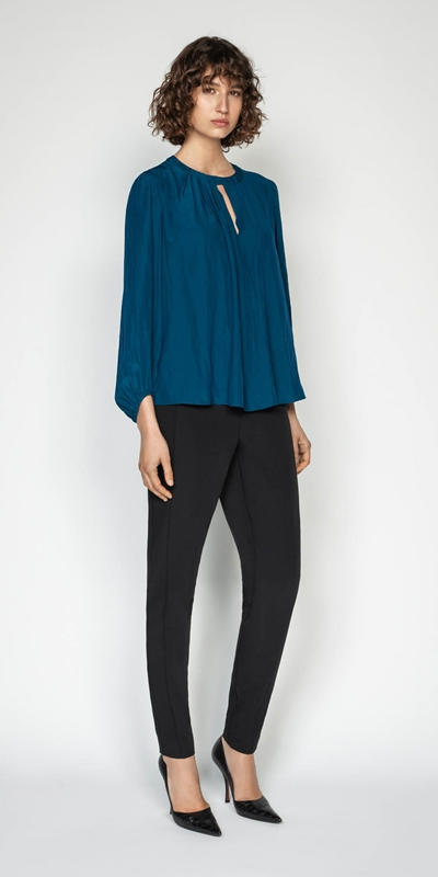 Tops | Draped Keyhole Blouse