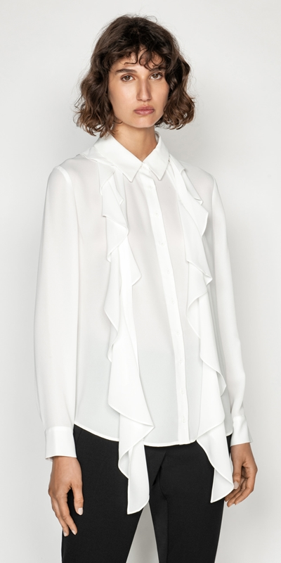 Shirts  | Frilled Tie Neck Top