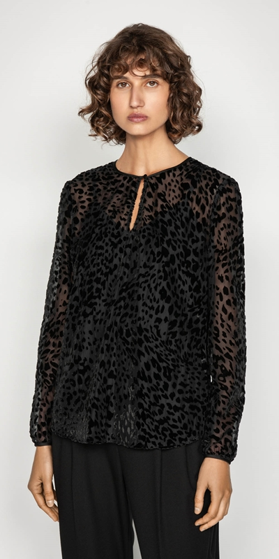 Shirts | Leopard Burnout Blouse