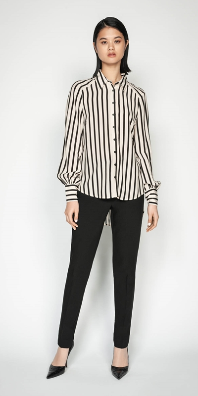Shirts | Striped Blouson Sleeve Shirt