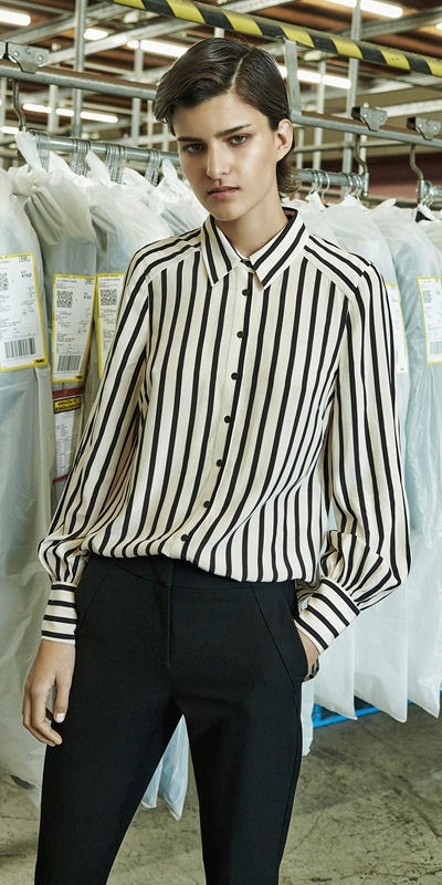Tops  | Striped Blouson Sleeve Shirt